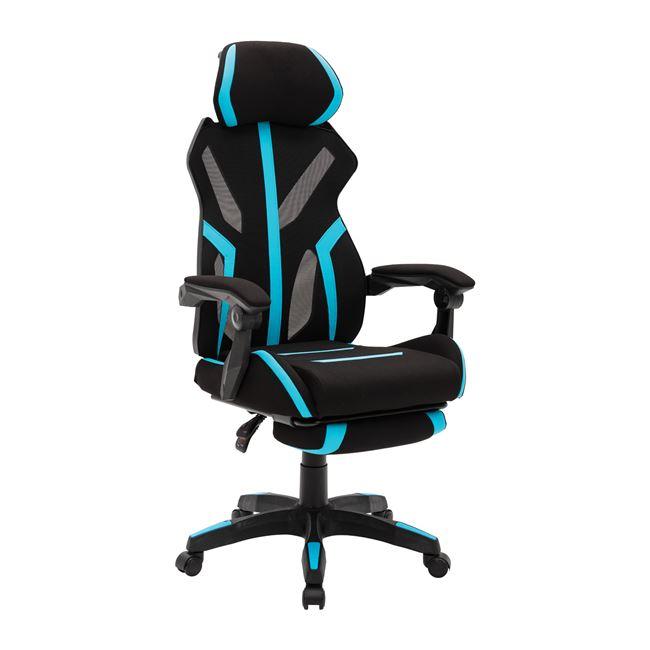 BF9000 Πολυθρόνα Gaming Relax Mesh - Ύφασμα Μαύρο - Pu Μπλε